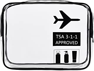 Clear Travel Toiletry Bag, TSA Approved Quart Sized Carry-On Makeup Accessories Cosmetic Bag for Liquids