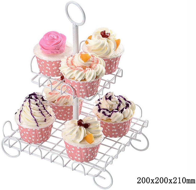 Gububi Support Cupcakes Stand, Présentoir à gateaux avec Support à gateaux, présentoir à Desserts en métal avec Blanc pour fête d'anniversaire (Couleur   Blanc, Taille   2 cravater)