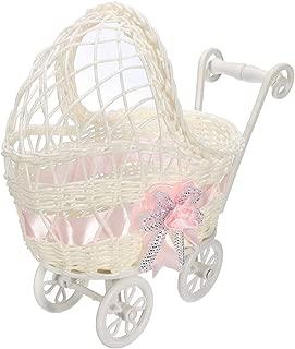 Baby Shower Centerpiece Stroller Wicker Carriage Baby Shower Favor Decoration (Pink)