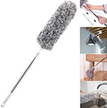 Microfiber Duster with Extension Pole(Stainless Steel), Extra Long 110 in, with Bendable Head, Scratch-Resistant Cover, Bendable, Washable for High Ceiling Fan, Interior Roof, Cobweb, Gap Dust,Blinds