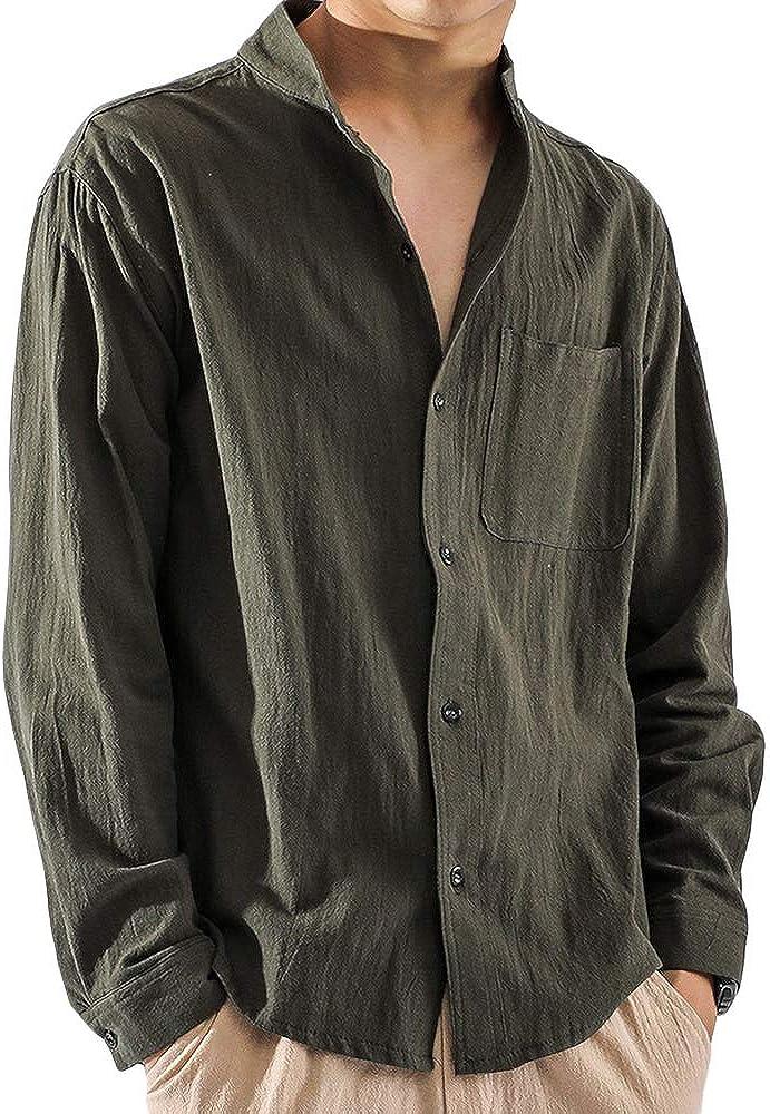Mens Button Down Shirt Linen Cotton Casual Slim Fit Long Sleeve Summer Beach Plain Lightweight Tops with Pocket