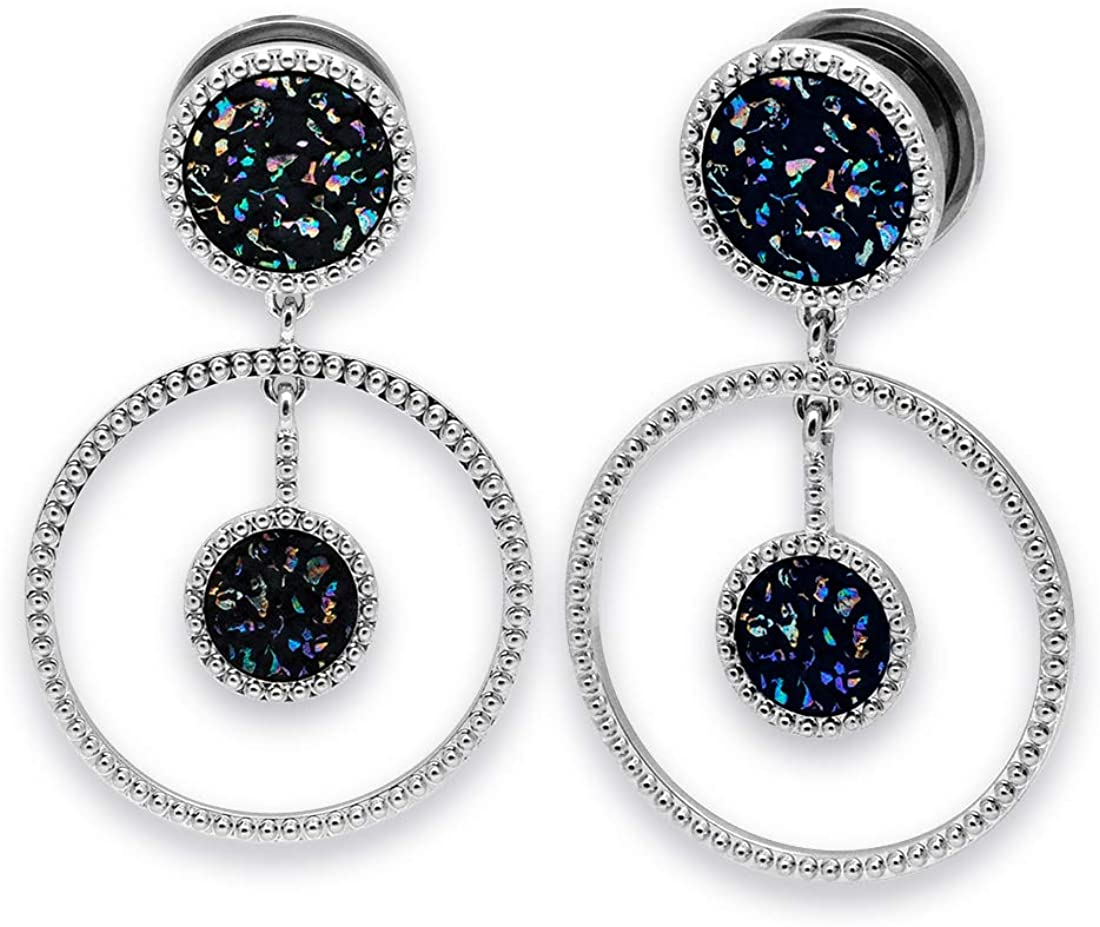 Mystic Metals Body Jewelry Pair of 316L Steel Screw on Plugs with Round Druzy Dangle (PS-260)