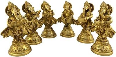 Brass Set of Six Musical Ganesha Idols