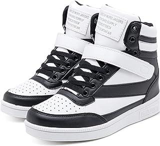 [Cazycazun] レディース ハイカット 厚底 インヒール スニーカー タウン シューズ シークレット ブーツ ダンス 運動 靴
