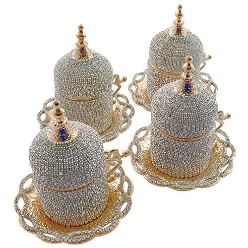 (juego de 4) hecho a mano Swarovski griega con recubrimiento de cristal turca café exprés de invitados Demitasse de plato y conjunto de coche con soporte y tapa