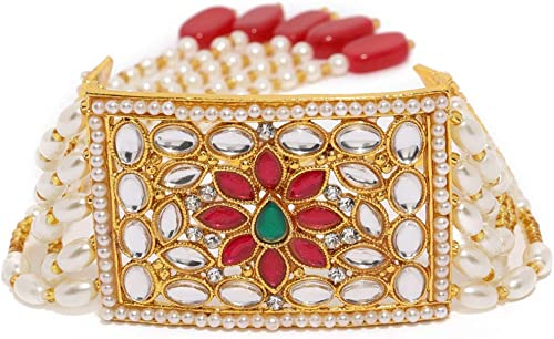 Zaveri Pearls Gold Tone Embellished With Pearls & Kundan Charm Bracelet For Women-ZPFK8406