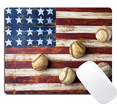 Wknoon Vintage Baseball Mouse Pad Rustic Wood Retro American Flag Design Mouse Pads