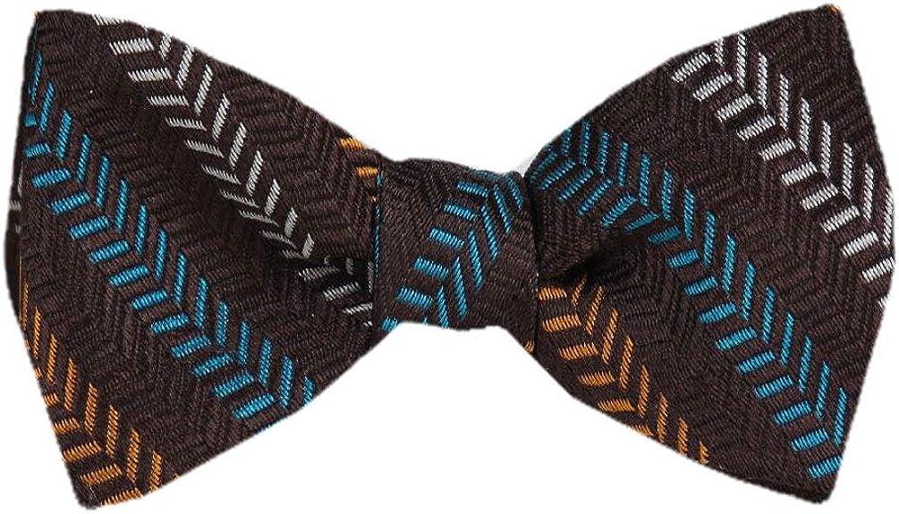 Men's Brown Silk Stripes Self Tie Bowtie Tie Yourself Bow Ties