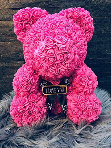Romeo&Love Rosenbär 40cm ROSA Deko künstliche Rosenbären mit Rote Rosen Blumen Rosen Bear MIT Gravur Wunsch BOTSCHAFT aus Rosen Verliebte Valentinstag Geburtstag Jahrestag Hochzeit Liebes Geschenk
