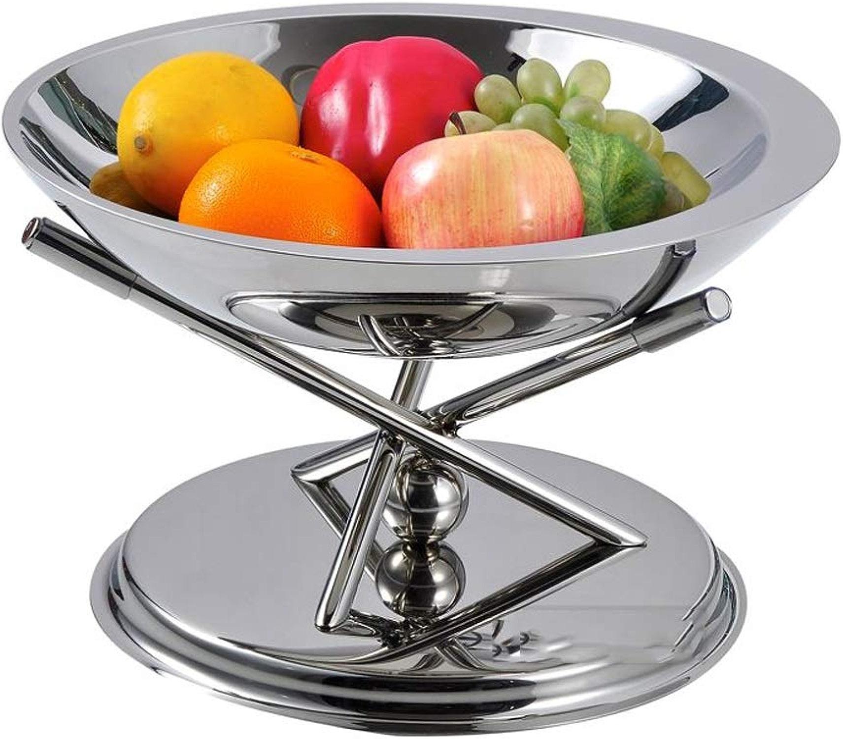MMWYC Assiette de fruits bol de fruits     Plateau à fruits décoratif au design unique et support en acier inoxydable antirouille (détachable)