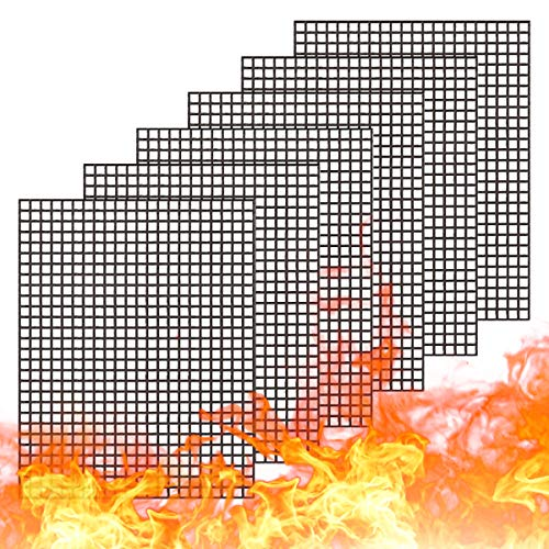 WholeFire Grillmatte Set 6 Stück, Antihaft Gitter Grillmatte Beschichtet Wiederverwendbar BBQ Grillmatte Backzubehör zum Grillen von Gasgrill, Backofen, Kochen, 40 x 33 cm