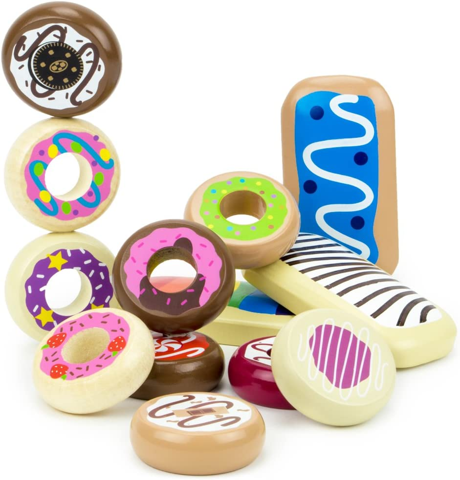 Imagination Generation Baker's Dozen Wooden Donuts - Pretend Play Food - 13-Piece Playset of Dessert Food Pastries for Tea Time and Play Kitchens