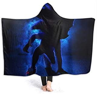 VIMMUCIR Sonic The Hedgehog 3D Fashion Hooded Throw Blanket Warm Wearable Blankets Novelty Cape for Kids 50x60 Inch