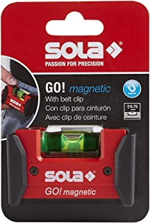 SOLA LSGOM GO! Magnetic Portable Level with Clip and 1 60% Magnified Vial, 3-Inch, Red