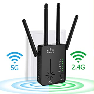 WiFi Range Extender, 2020 Upgraded 1200Mbps WiFi Repeater Wireless Signal Booster, 2.4 and 5GHz 360 Degree Full Coverage WiFi Extender Signal Amplifier with AP/Router/Repeater Mode