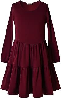 Áo quần dành cho bé gái – Girls Ruffle Swing Dress Round Neck Flowy Long Sleeve Dress with Elastic Cuffs
