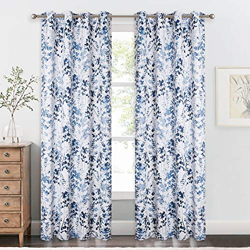 """KGORGE Sun Blocking Print Curtains - Home / Office Artistic Décor with Vivid Watercolor Floral Painting, Thick Thermal Insulated Energy Efficient Shades for Sleep Protecting (Blue, 52""""x 84"""", 1 Pair)"""