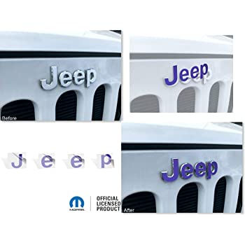JEEP Front and Rear Emblem Overlay Decal Stickers Reflective Concepts 2007-2013 Jeep Compass - Color: Dark Charcoal Metallic