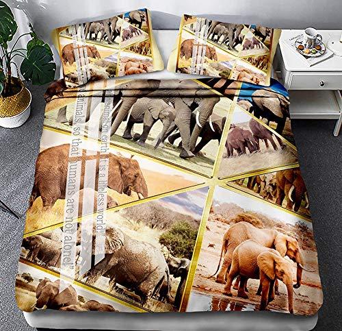 JZZCIDGa Movie Elephant DuvetCover 3-PieceBedSetBeddingSetPillowcasesDoubleHiddenZipperMicrofiberQuiltCover