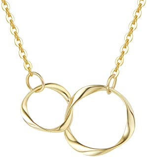 Moms Gold Hammered Circle Pendant Teenager Best Friend Gifts Beautiful Circle Infinity Jewelry for Women 14k Gold Filled Necklace
