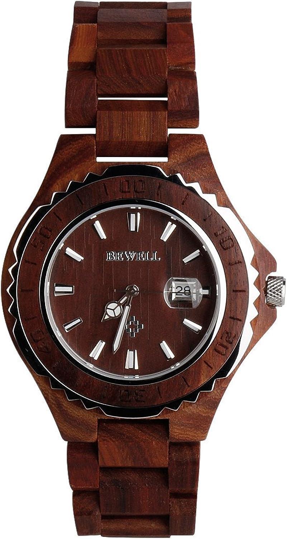 RedBrowm BEWELL Wooden Watch Men Quartz with Luminous Hands 30M Water Resistance