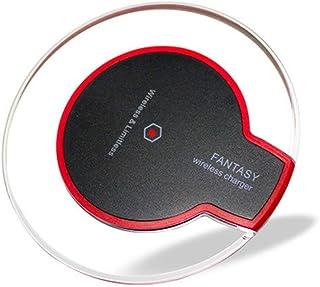 360MALL スマホ QIワイヤレス充電器 QI(チー) トランスミッター ドック ディスク 置くだけ充電パッド 丸型超薄い 超軽量で持ち運びに便利 USBケーブル付き サムスン iPhone対応 透明 クリア (ブラック)
