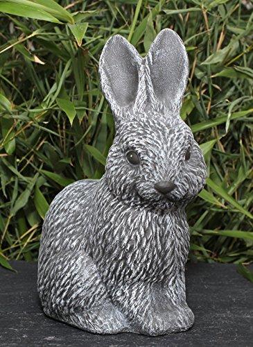 Steinfigur Hase in Schiefergrau, Deko-Figur Garten Osterdeko Steinguss