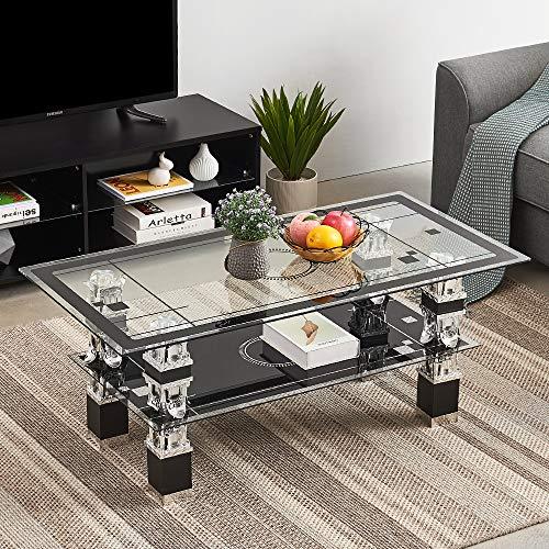 Soddyenergy salontafel rechthoek gehard glas chroom,2 lagen modern glas salontafel