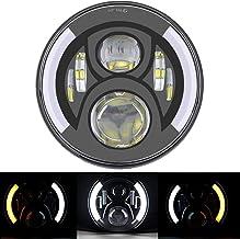 Qiilu Phare De Moto /à DEL 7Rond Universel 12V H4 35W Phare De Moto /à DEL Jaune Avec Support Noir