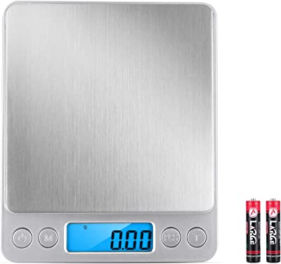 Balepha Digital Kitchen Scale, 500g/0.01g Mini Pocket Food Scale Multifunctional for Cooking, Baking, Jewelry Weight with Trays, Backlit Light Display, Tare/PCS Function, 6 Units, Auto Off (Silver)