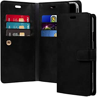 غطاء حافظة حماية ومحفظة لجهاز آيفون XS ماكس من الجلد مع جيوب داخلية متعددة، أسود