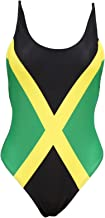 Women's Fashion One Piece Thong Bathing Suit Caribbean Jamaica Flag Monokini Swimsuit Swimwear