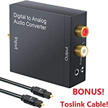 Tersely DAC Digital to Analog Converter Digital SPDIF Toslink to Analog Stereo RCA 3.5mm Audio L/R Converter Adapter with Optical Cable for PS3 Xbox HD DVD PS4 Home Cinema Systems AV Amps Apple TV