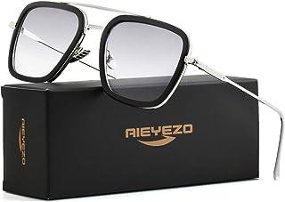 Tony Stark Sunglasses Vintage Square Metal Frame Eyeglasses for Men Women - Iron Man and Spider-Man Sun Glasses