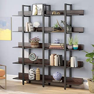 Tribesigns Double Wide 5-Tiers Open Bookcase, Vintage Industrial Large 5 Shelf Bookshelf Furniture, Etagere Bookcases with Back Fence for Home Office Decor Display (Retro Walnut)