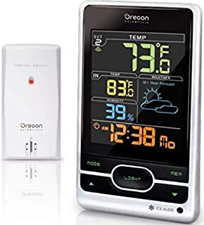 Oregon Scientific Wireless Weather Station Featuring Temperature Forecast Atomic Clock Ice Alert Calendar Humidity - Color Display - Silver