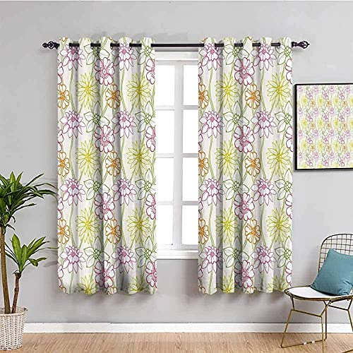 MENGBB Blackout Curtain for Kids Girls Microfiber - Flowers plants pastoral fresh - Thermal Insulated 90% Blackout - 43x55 inch Kitchen Bedroom Living Room Window Eyelet Curtains