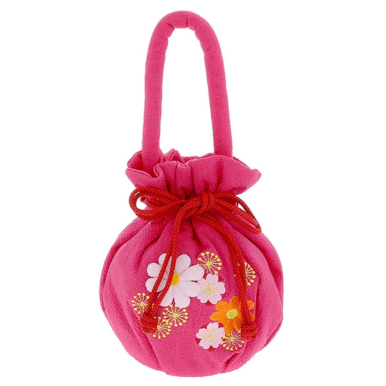[ 京都きもの町 ] 七五三 巾着単品「ラズベリーピンク お花の刺繍、押絵」桃の節句、ひな祭り