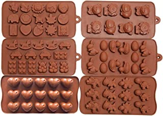 Wocuz 6pc Candy Molds, Chocolate Molds, Silicone Molds, Soap Molds, Silicone Baking Molds-6pc Value Set- Dinosaur,happy Faces,Loving Heart,bunny,figures,fruits, Kids Toys Valentine's Day gifts