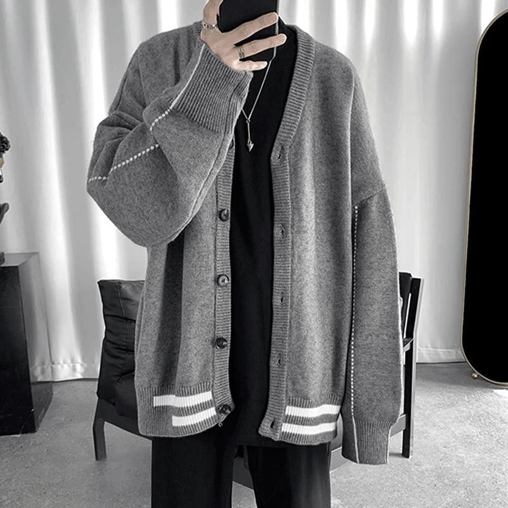 XJJZS Men Cardigan Autumn Striped Mens Outwear Male Tops Sweaters Baggy Casual Preppy Korean (Color : Gray, Size : Asian Size L)