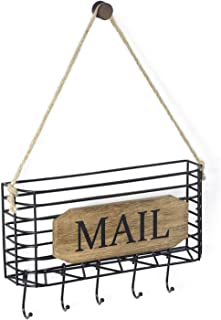 SRIWATANA Mail Key Holder, Mail Organizer Wall Mount, Small Size Hanging Mail Letter Basket with 5 Hooks
