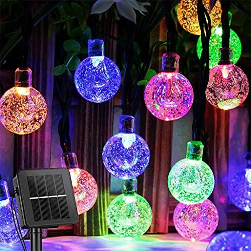 JYDQM Luces al Aire Libre 60 Luces de Globo de Cristal LED con 8 Modos de la luz de Patio Impermeable Impermeable para la decoración del Partido del jardín (Color : Multicolor, Size : 7M 50LEDS)