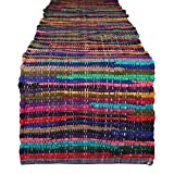 RAJRANG BRINGING RAJASTHAN TO YOU Chindi Rag Table Runner - Indian Ethnic Vintage Dining Table Decoration Colorful Coffee Table Placemat Pure Cotton Hippie Decor 14 X 72 Inches