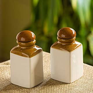 ExclusiveLane The 'Seasoned Couple' Hand Glazed Studio Pottery Multi-Utility Ceramic Storage Jars (6 Inch, 300 ML, Set Of 2) (Handmade and Handcrafted In India)-Food Storage Containers Jars