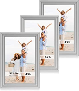 LaVie Home 4x6 Picture Frames(3 Pack, Gray) Single Photo Frame with High Definition Glass for Wall Mount & Table Top Display, Set of 3 Basic Collection