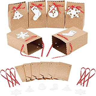 12pcs/Set Cowhide Paper Christmas Gift Boxes,Candy Boxes Packaging,Cookie Wedding Party Gift Packaging Treat Bags For Chri...