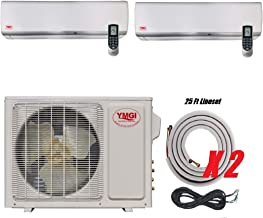 YMGI Dual Zone - 27000 BTU (9K +18K) Wall Mounted Ductless Mini Split Air Conditioner with Heat Pump for Home, Office, Apartment