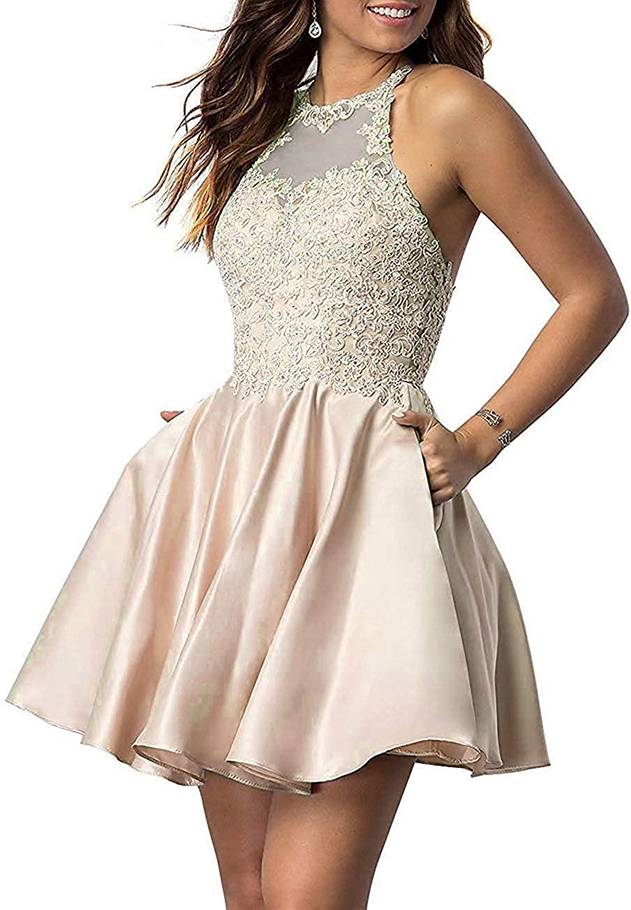 Woman's Short Homecoming Dresses for Juniors Lace Halter Neckline with Pockets