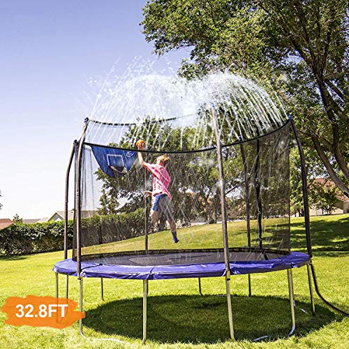 INMUA Trampoline Sprinkler, Outdoor Water Play Sprinklers for Kids Fun Water Park Summer Games Yard Toys Sprinkler (32.8ft/10M)