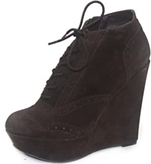Qupid Women's Worthy-27 Oil Velvet Wedges Ankle Booties Fashion Shoes